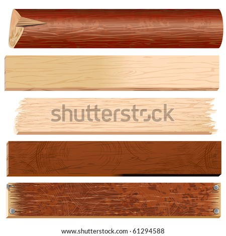 Wooden materials-Planks, Boards, Logs, Panels, Slats - vector timber collection - stock vector