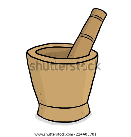 wooden mortar and pestle / cartoon vector and illustration, hand drawn style, isolated on white background. - stock vector