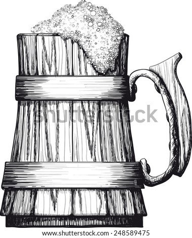 Wooden Mug with foaming beer isolated on a white background - stock vector