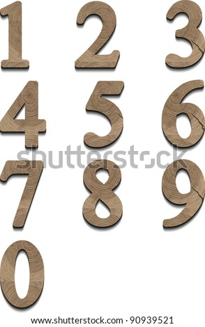 wooden numbers eps10