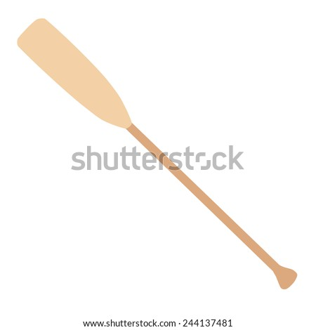 Wooden oar vector icon isolated on white, water sport  - stock vector