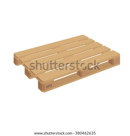 Wooden pallet isolated vector. Wooden pallet illustration in perspective, front and side view with dimensions.  - stock vector