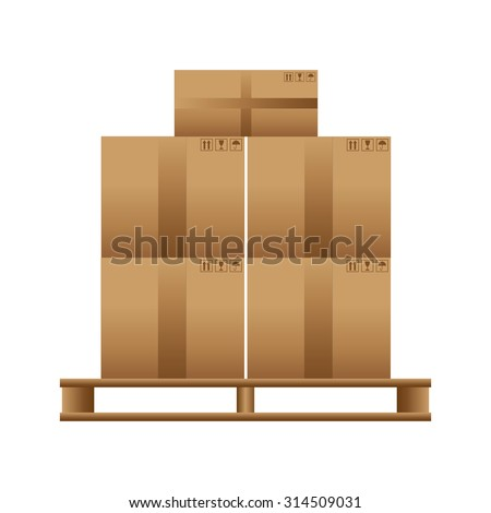 Wooden pallet with cardboard boxes on a white background. Vector - stock vector
