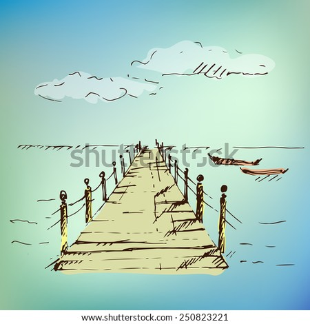Wooden pier at sea with cloudscape on blurred background. Vector illustration. - stock vector