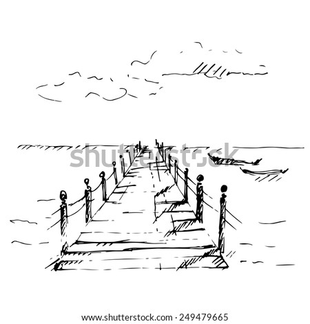 Wooden pier at sea with cloudscape. Sketch. Vector illustration. - stock vector