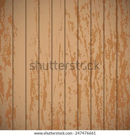 Wooden plank texture, vector background illustration - stock vector