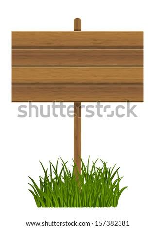 Wooden plate on green grass - stock vector