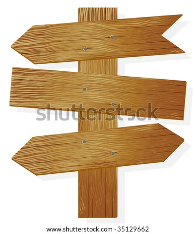 Wooden plates and an index of direction - stock vector