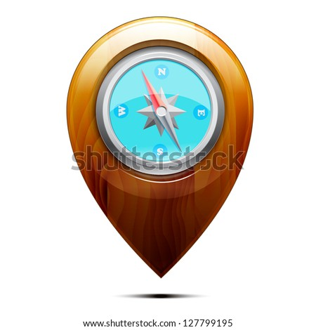 Wooden pointer with a compass, isolated on a white background. Vector - stock vector