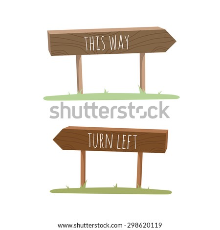 Wooden pointer with information. Choose direction. Cartoon outdoor brown objects on the grass. Text on the surface. Cute templates on white background. - stock vector