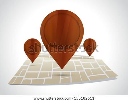 Wooden pointer with map vector - stock vector