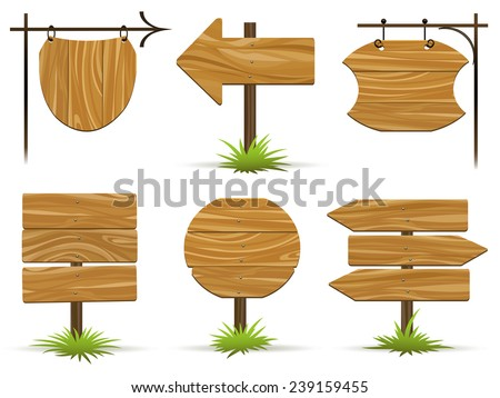 Wooden pointers and signs. Wooden plaques and pointers for information and advertising. Vector illustration
