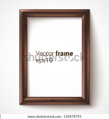 Wooden rectangular 3d photo frame with shadow. Vector illustration - stock vector