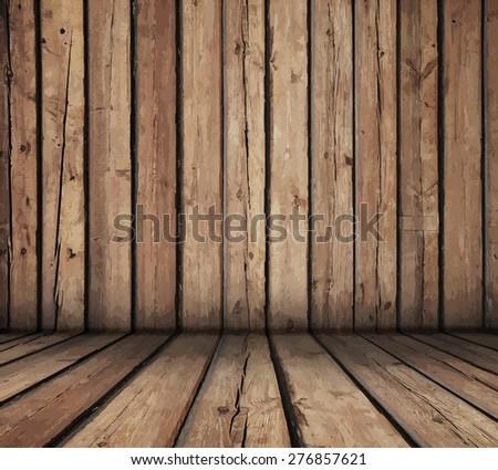 wooden room - stock vector