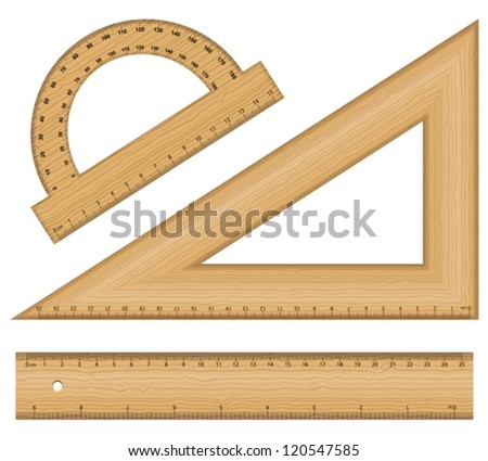 Wooden ruler instruments on a white background. Vector illustration. - stock vector