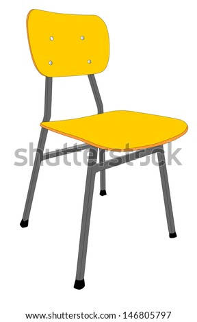 wooden school chair used classroom stand stock vector 146805797