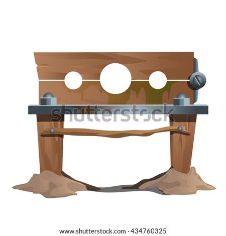 Wooden shackles. Vector. - stock vector