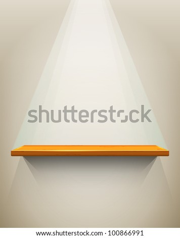 Wooden shelf with place for your exhibit, vector illustration, eps10, 3 layers, easy editable - stock vector
