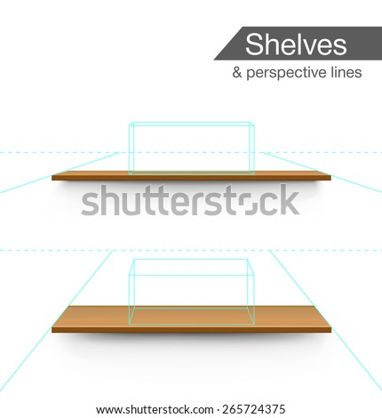 Wooden shelves isolated on white background with prespective lines. Vector illustration - stock vector