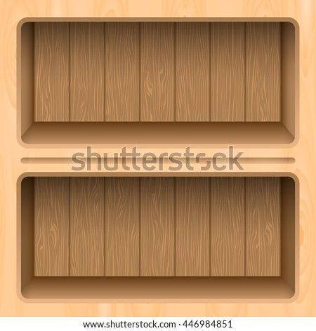 Wooden shelves modern design. vector illustration - stock vector