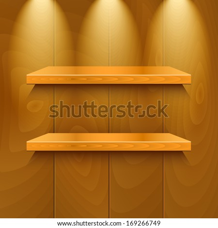 Wooden shelves under the light - stock vector