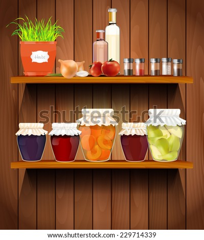 Wooden shelves with the herbs, vegetable, glasses, spices and jam in the pantry - vector illustration - stock vector