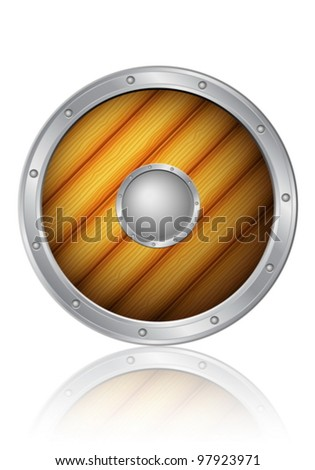 Wooden shield on a white background. Vector illustration.