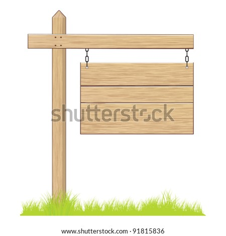 Wooden sign. - stock vector