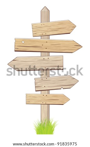 Wooden sign. - stock vector