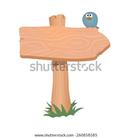 Wooden sign arrow board.    Vector illustration isolated. - stock vector