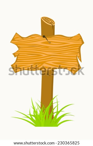Wooden sign boards on a grass. Vector Illustration isolated on white  - stock vector