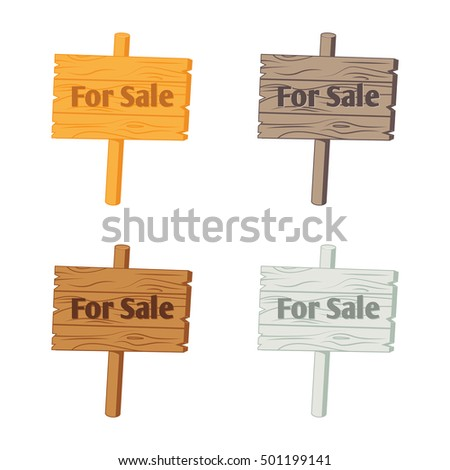 Wooden sign For Sale�. Vector illustration isolated on white. Set in different color options.