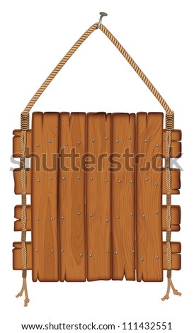 wooden sign hanging on a rope. isolated on white background - stock vector