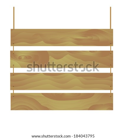 Wooden sign hanging on rope - stock vector