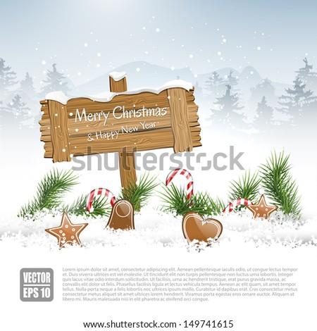 Wooden sign in winter landscape - vector background - stock vector