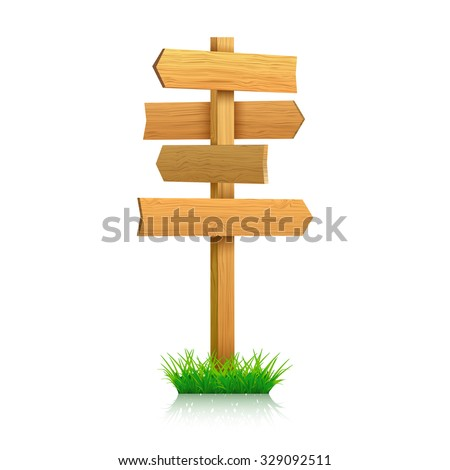 Wooden sign on a grass. vector illustration - stock vector