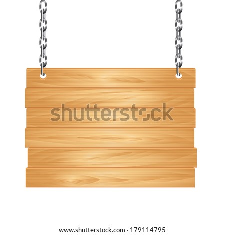 Wooden sign on chain photo-realistic vector illustration - stock vector