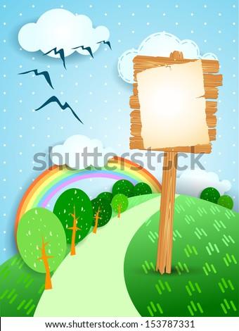 Wooden sign on fantasy landscape, vector - stock vector