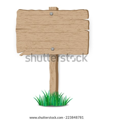 Wooden sign on grass.vector illustration