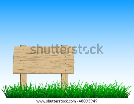 wooden sign on green grass - stock vector