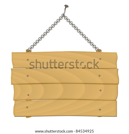 wooden sign on the chains. vector - stock vector