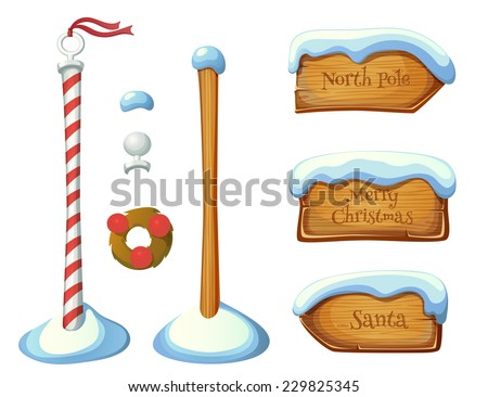 Wooden sign post elements. Christmas set. EPS 10. Transparency. Gradients. - stock vector