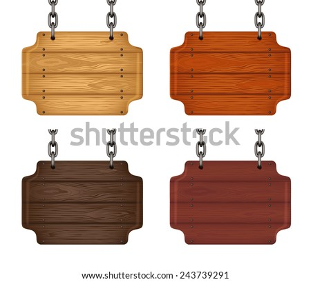 Wooden sign set. Collection of wooden signboards hang by chains. Vector - stock vector
