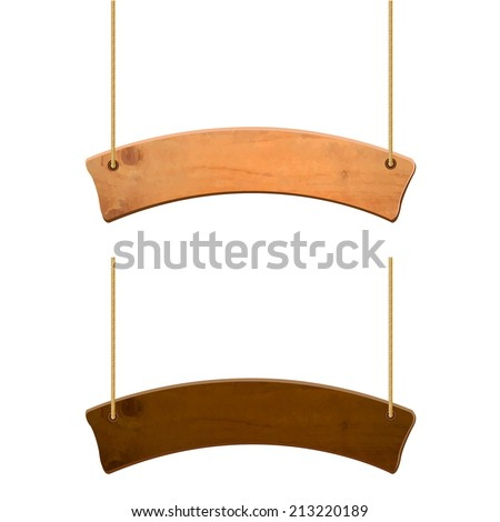 Wooden Sign Set, Vector Illustration - stock vector