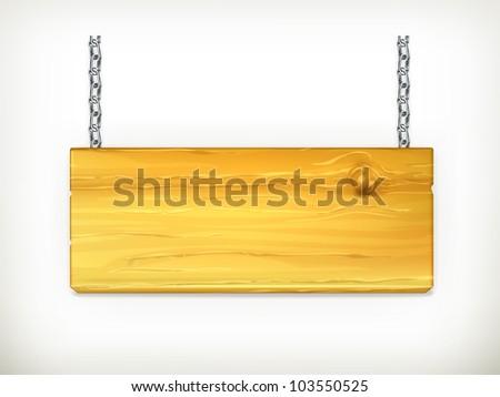 Wooden sign, vector - stock vector