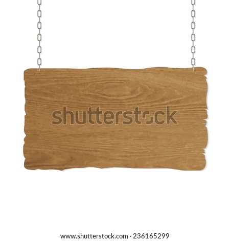 Wooden Sign, Vector Illustration - stock vector