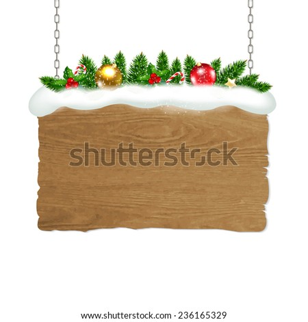 Wooden Sign With Fir Tree And Snow With Gradient Mesh, Vector Illustration - stock vector