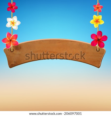 Wooden Sign With Frangipani, With Gradient Mesh, Vector Illustration - stock vector