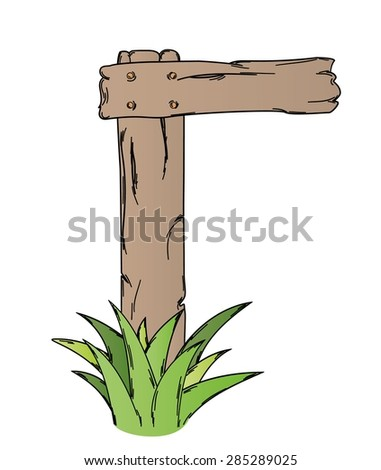 wooden sign with grass on white background, isolated - stock vector