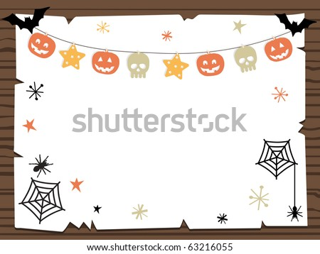 wooden sign with halloween party notice ready for your text - stock vector